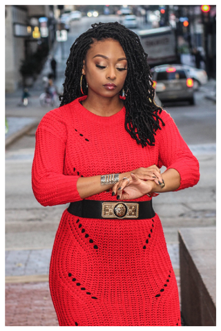 """LADY IN RED"" long knit maxi sweater with belt"