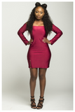 """CENTER OF ATTENTION"" burgundy off the shoulder dress with zipper slit"