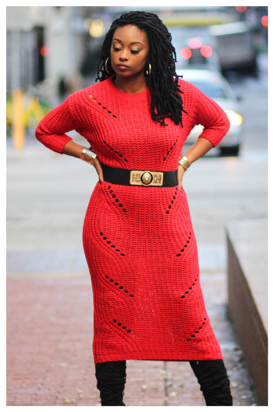 """LADY IN RED"" long knit maxi sweater"