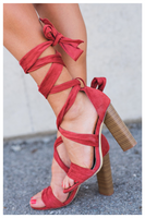 """TIE ME UP"" criss cross chunky heel in red cinnamon"