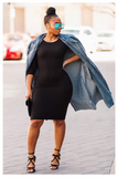 """POWER MOVES"" black 3/4 sleeve midi bodycon dress"