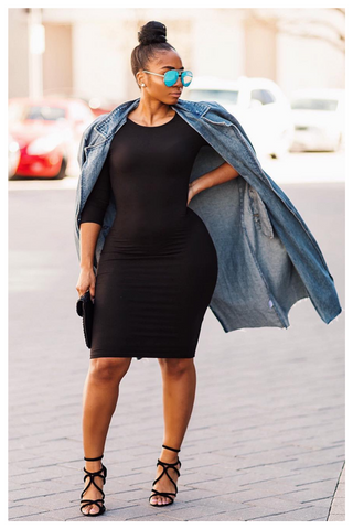 "PLUS SIZE ""POWER MOVES"" midi bodycon dress"