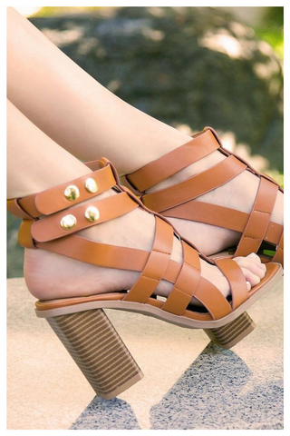 """SO OBSESSED"" cut out strappy chunky heel sandal bootie"