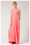 """GO WITH THE FLOW"" coral oversized harem maxi dress with pockets"