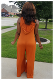 """SUMMER BREEZE"" orange oversized jumpsuit with hood and pockets"