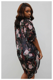 """ABSOLUTELY FLORAL"" black multicolor floral print kimono duster"