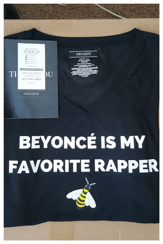 Beyonce is my favorite rapper black womens v-neck t-shirt