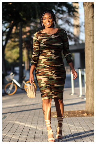 """POWER MOVES"" camo 3/4 sleeve midi bodycon dress"