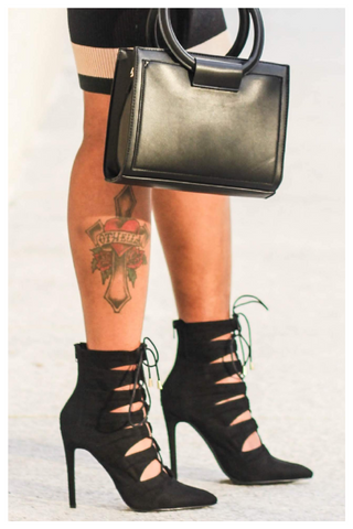"""ONYX"" short black pointy toe ankle booties"