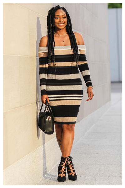 """BOSS LADY"" multicolor green striped bodycon sweater dress"