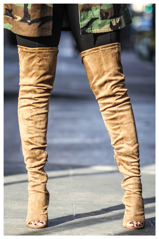"""ABOVE AVERAGE"" light olive suede over the knee thigh high boots"