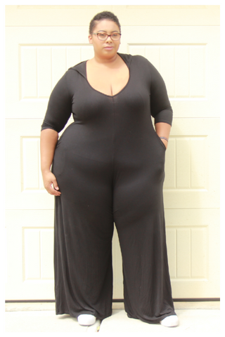 "PLUS SIZE ""NIGHT OWL"" black oversized palazzo pant wide leg jumpsuit with hood and pockets"