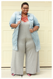 "PLUS SIZE ""THROW ON AND GO"" heather grey palazzo wide leg capri ankle length jumpsuit with pockets"
