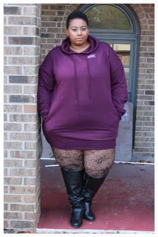 "PLUS SIZE ""NETFLIX AND CHILL"" plum purple hoodie dress with pockets"