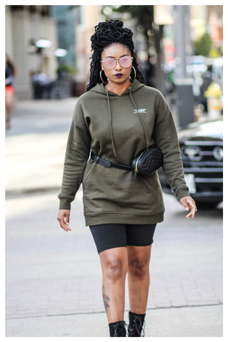 """NETFLIX AND CHILL"" olive green hoodie dress with pockets"