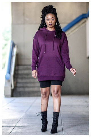 """NETFLIX AND CHILL"" plum purple hoodie dress with pockets"
