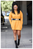 """NETFLIX AND CHILL"" mustard hoodie/dress"