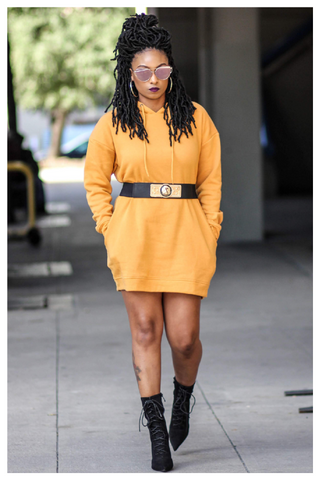 """NETFLIX AND CHILL"" dark mustard yellow hoodie dress with pockets"