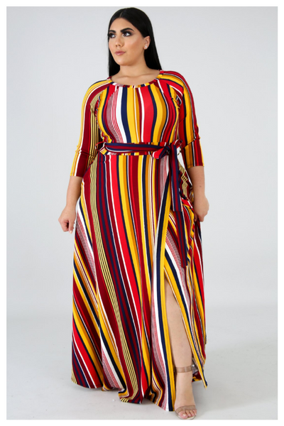 "PLUS SIZE ""BETWEEN THE LINES"" multicolor maxi dress with pockets"