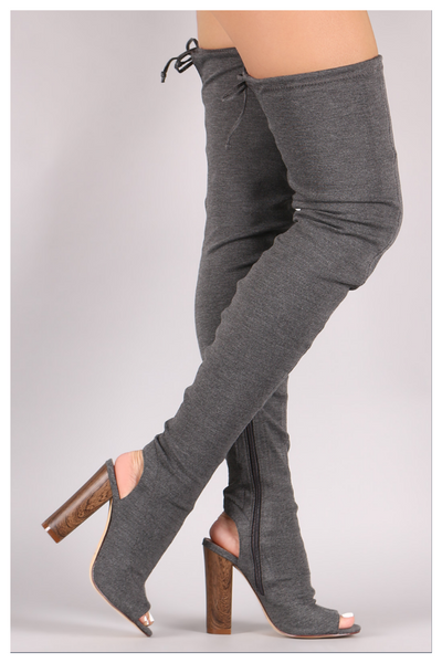 """ABOVE AVERAGE"" grey stretch over the knee thigh high boots"