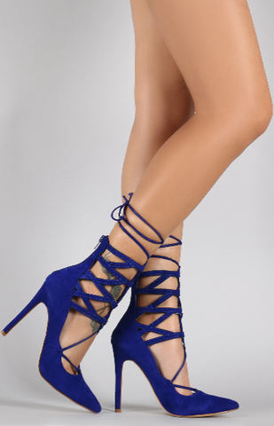 """SASHA"" pointy toe lace up pump"