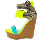 """LOUD"" neon yellow wedge heel"