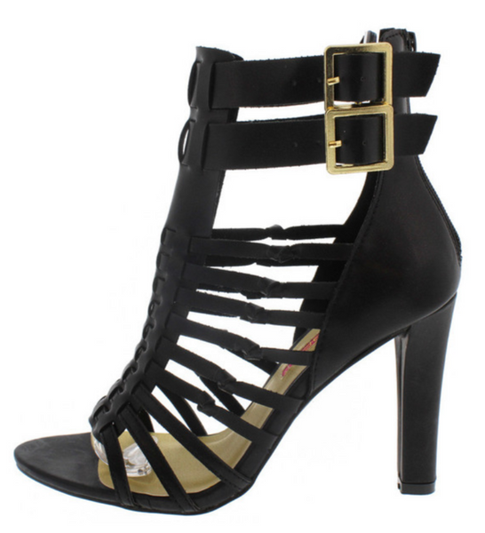 """LAUREN"" open toe caged black heel"