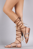 """NINA"" aztec braided lace up sandals"