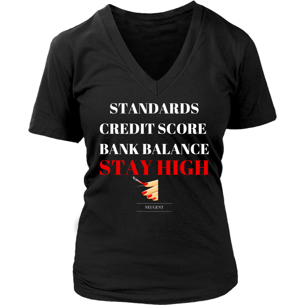 Standards credit score bank balance stay high womens original black t-shirt