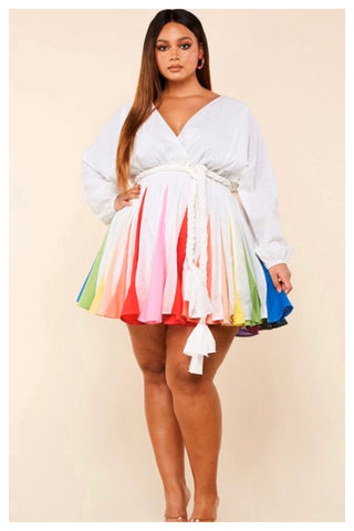 "PLUS SIZE ""SPRING RAINBOW"" dress"