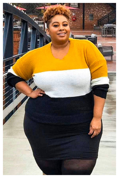 "PLUS SIZE ""COZY"" colorblock sweater"