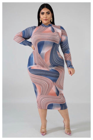 "PLUS SIZE ""MARBLE LOVE"" blue bodycon dress"