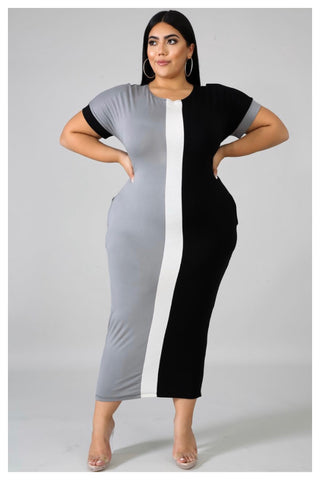 "PLUS SIZE ""SPLIT DECISION"" gray dress"