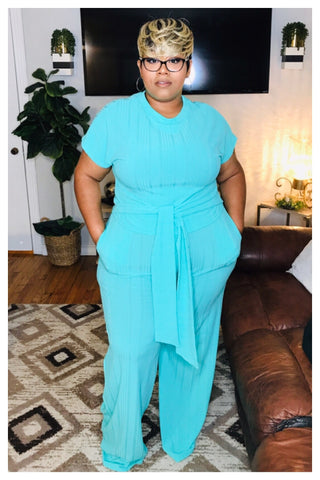 "PLUS SIZE ""MINT FOR YOU"" pants set"