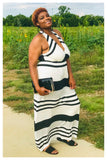 "PLUS SIZE ""SIMPLE THINGS"" black and white ivory striped maxi dress"