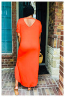 """COMFY COZY"" maxi dress with side slits"