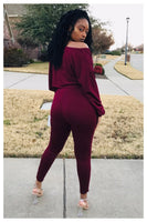 """SUPER CHILL"" burgundy two piece set"