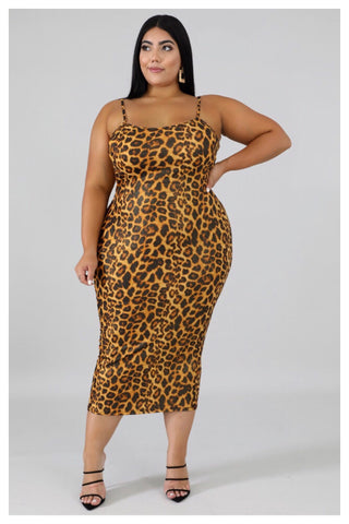 "PLUS SIZE ""CATWOMAN"" leopard bodycon"