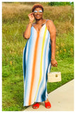 "PLUS SIZE ""SPRING VIBES"" multi striped maxi dress blue"