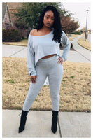 """SUPER CHILL"" heather grey two piece set"