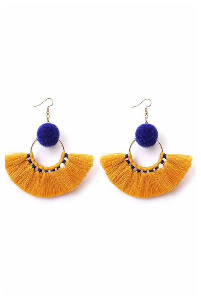 Mustard and royal earrings