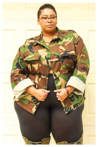 "PLUS SIZE ""LOVE AND WAR"" vintage oversized camo jacket (unisex)"