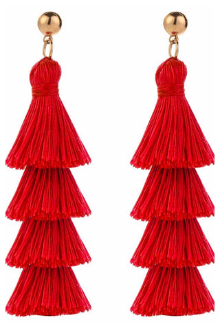 Red four tier earrings