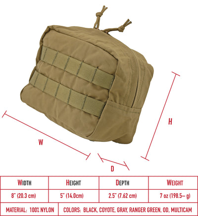 Modular (MOLLE) Utility Horizontal Pouch, Large