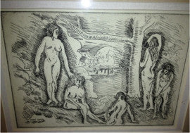 Fred Biesel Cubist Picasso Style Nude Women Etching Unsigned 1929