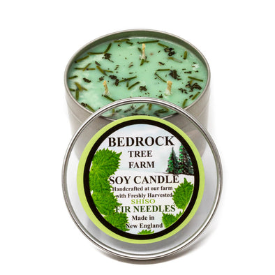 Metal Tin Soy Candle Shiso 16oz - Bedrock Tree Farm Fir Needle Products