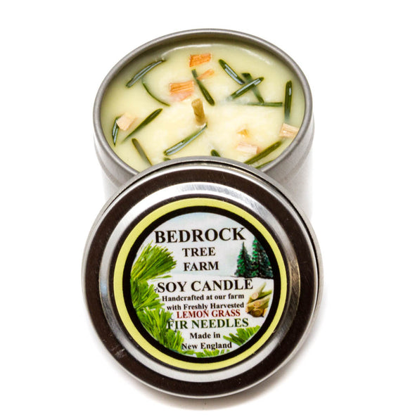 Metal Tin Soy Candle Lemongrass 2oz - Bedrock Tree Farm Fir Needle Products