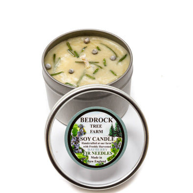 Metal Tin Soy Candle Bayberry 4oz - Bedrock Tree Farm Fir Needle Products
