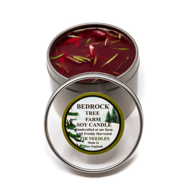 Metal Tin Soy Candle Fir Needle Burgundy 4oz - Bedrock Tree Farm Fir Needle Products
