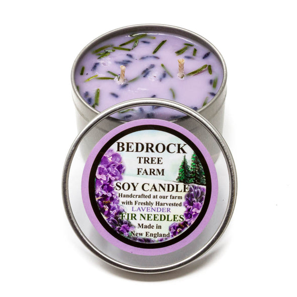 Metal Tin Soy Candle Lavender 8oz-Bedrock Tree Farm Fir Needle Products